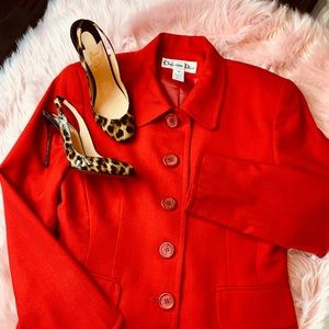 Christian Dior jacket with red buttons